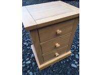 Modern solid pine 3 drawer bedside cabinet in like new condition