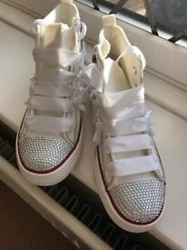 Holy communion or wedding trainers sparkle
