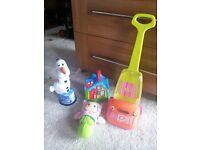 SPINNING OLAF, LITTLE HOOVER, GLOW WORM, AND FISHER PRICE HOUSE