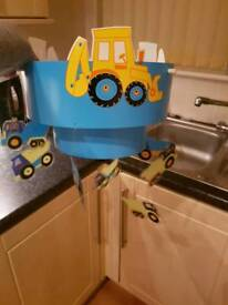 Tractor lampshade, curtains