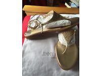 Jimmy Choo Fabulous Brand New in Box Gold Glitter Toe-post Gladiator Sandals Size 5