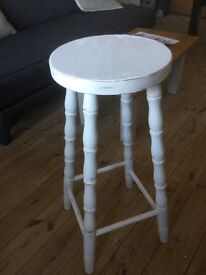 Shabby chic white stool