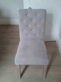 Set of 4 Next Moda 2 Button dining chairs in sumptuous velvet mid silver grey purple AS NEW