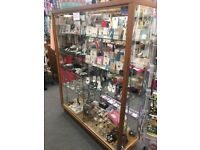 Double sided glass display case for shop
