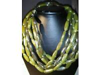 LADIES NEW TRIPLE STRAND, PORCELAIN BEAD NECKLACE, IN SHADES OF GREEN