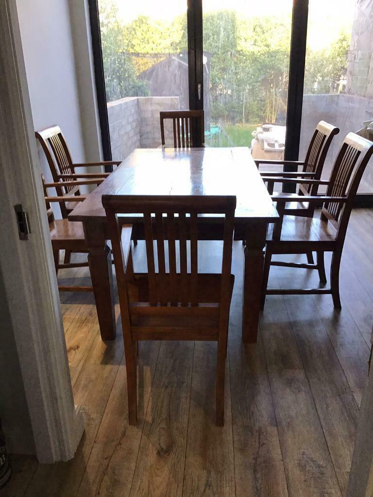 Indonesian Teak Dining Table and Six Chairs | in ...