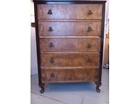 Antique chest of drawers, solid dark wood