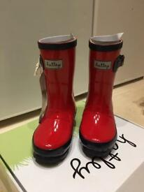 Hatley Girls Red and Navy Wellies with Tags Size 8