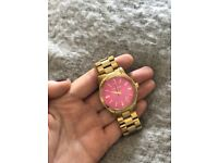 Michael Kors gold watch with hot pink face, good as new only worn twice
