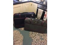 Three sturdy vintage style suitcases for travel upcycle props or a project