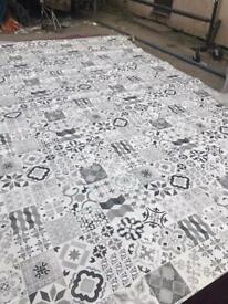 """Grey and white tiled vinyl/ Lino 14ft 11"""" x 13 ft"""
