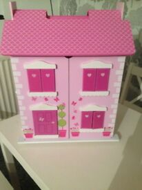 Pink dolls house with furniture - excellent condition