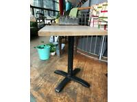 Two wood & metal tables