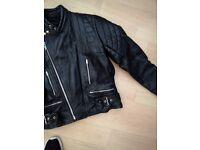 "Leather motorcycle jacket 40"""