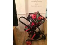Cosatto woop in tropico pink and black frame pram pushchair