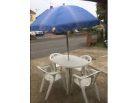 Garden table with 4 chairs etc