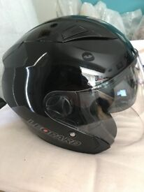 2 x Motorbike helmets - Leopard with visors and drop down sun visors