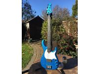 Modulus FB4 Flea Bass in Blue Sparkle - Carbon Graphite