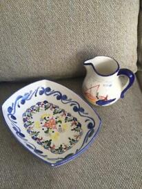 "Hand painted bowl and jug - ""Majolique"""
