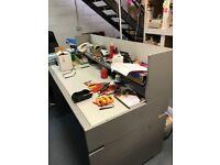 Grey desk with detachable shelf