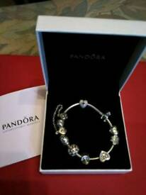 PANDORA SILVER BRACELET INCLUDING 8 CHARMS - IMMACULATE CONDITION