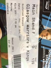 Glasgow Warriors v Kings 60+ main stand ticket F D seat 139