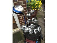 Full set of golf clubs including mizuno, ping and taylormade