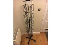 24 Bay - Revolving Display Stand - suitable for Cards etc..Black Metal, solid & Sturdy