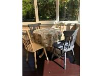 Painted dining table and 4 chairs