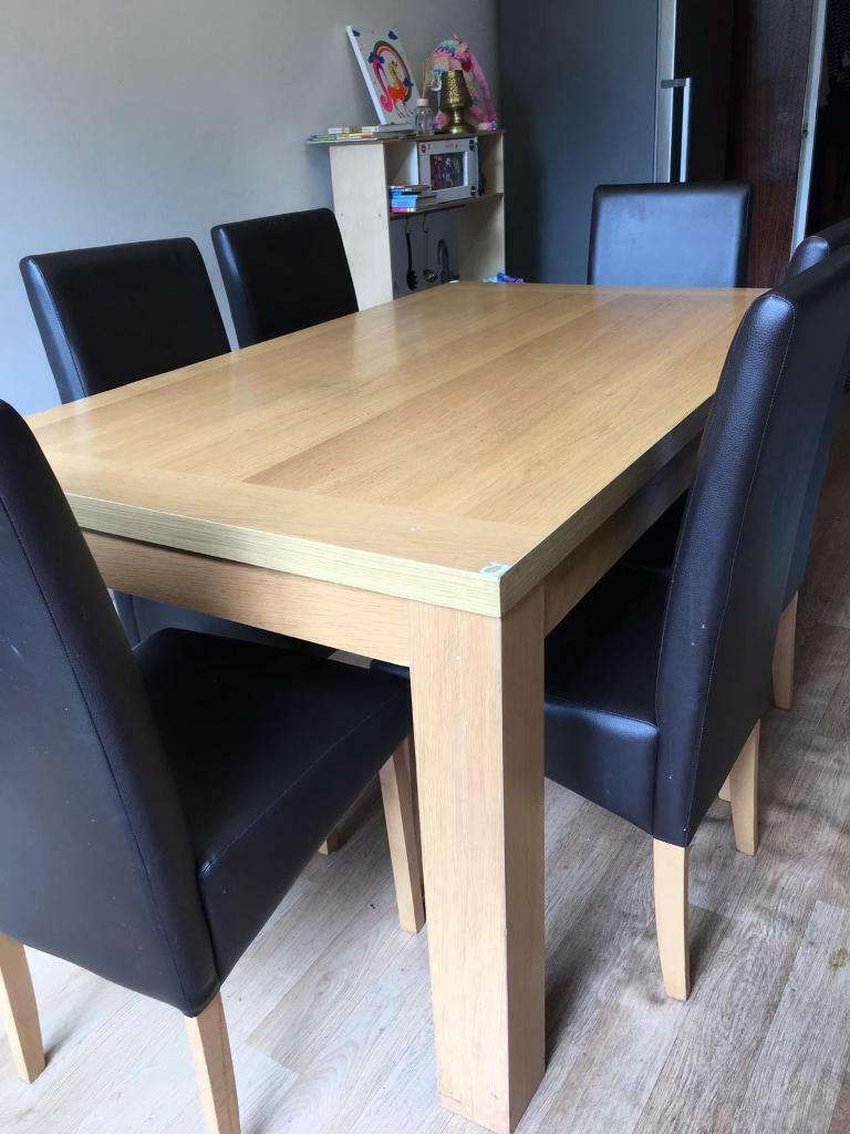 Good Sturdy Six Seater Oakwood Dining Table From Homebase In Mill End Hertfordshire Gumtree