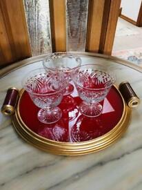 Stylish French Art Deco Modernist Round Cocktail Brass and Glass Serving Tray with Handles