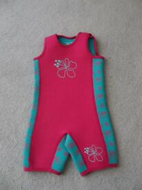 Mothercare, Infant Wetsuit, Pink and green, Aged 2 -3. Sleeveless. Fits up to 98cms.