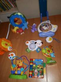 Cot mobile,projector and toys