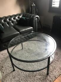 Glass and metal coffee table solid heavy