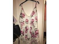 Floral silk playsuit