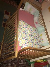 Baby cot with mattress and quilt