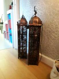 Pair of ornimental copper lamps