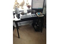 BLACK GLASS AND METAL COMPUTER DESK LOVELY COND
