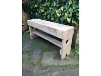 "Recycled Wood, Two Seater Garden ""Memories"" Bench with Hearts ideal as Wedding Gift..."