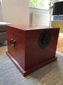Very loved, Wooden Storage box perfect as table near the couch. Metal details.