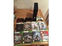 Bundle Xbox 360, 3 controllers, 8 games.