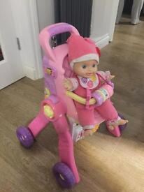 Vtech baby 3 in 1 pram and baby love doll - £20 for both