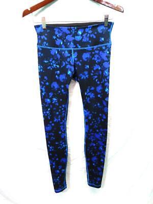 Lululemon Size 6 Black Blue Purple Floral Leggings Full Length Gym Yoga sm