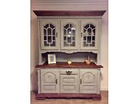 Unique very large solid oak wood Welsh dresser, sideboard in chalk French grey finish