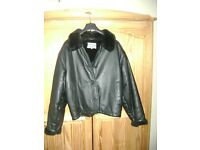 Something different for winter - Black Leather Jacket, fur lining, size 12 ,ORIGINAL Top Shop - £15
