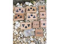 Brand new wooden wall sockets