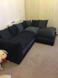 Black & Grey corner sofa + matching 2 seater sofa