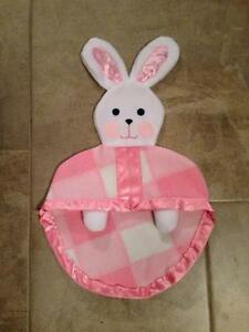 Pink & White Replica of Vintage Fisher Price Bunny Blanket Lovey