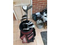 Golf Club Full Set with Gold Bag and Hood
