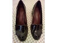 M and S Collection ladies burgundy loafers size 7 wide fit.